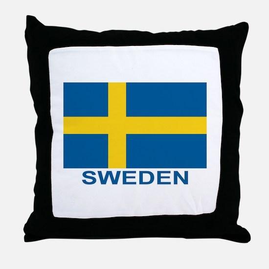 Swedish Flag (w/title) Throw Pillow