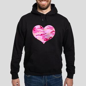 Pink Camo Heart Hoodie (dark)