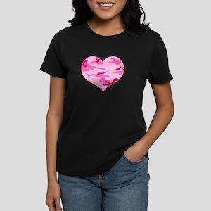 Pink Camo Heart Women's Dark T-Shirt