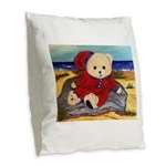 Chef Cappy's Beach Vacation Burlap Throw Pillow