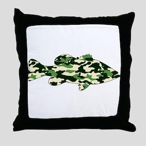 CAMO BASS Throw Pillow