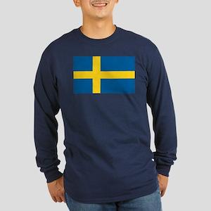 Swedish Flag Long Sleeve Dark T-Shirt