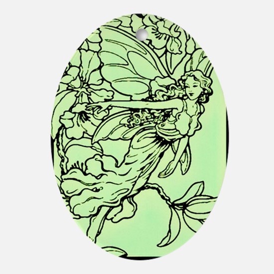 Gorgeous Green Faerie Ornament (Oval)