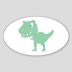 Green T-Rex Sticker (Oval)
