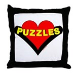 Puzzles Heart Throw Pillow