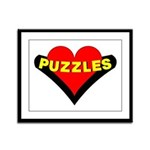 Puzzles Heart Framed Panel Print