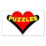 Puzzles Heart Sticker (Rectangular)
