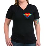 Puzzles Heart Women's V-Neck Dark T-Shirt