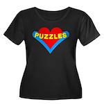 Puzzles Heart Women's Plus Size Scoop Neck Dark T-