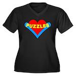 Puzzles Heart Women's Plus Size V-Neck Dark T-Shir