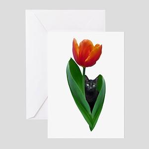 Tulip Cat Greeting Cards (Pk of 20)