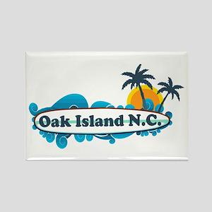 Oak Island NC - Surf Design Rectangle Magnet