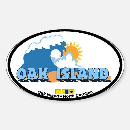 Oak Island NC - Waves Design Sticker (Oval)