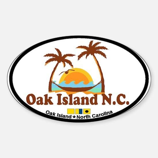 Oak Island NC - Sun and Palm Trees Design Decal