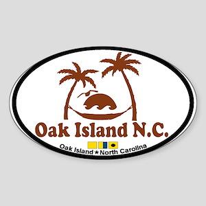 Oak Island NC - Sun and Palm Trees Design Sticker