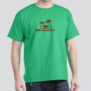 Oak Island NC - Sun and Palm Trees Design Dark T-S