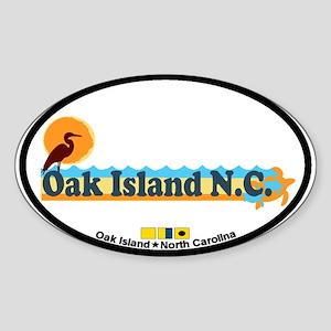 Oak Island NC - Beach Design Sticker (Oval)