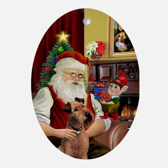 Santa and his Irish Terrier Oval Ornament