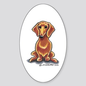 Smooth Red Dachshund Sticker (Oval)