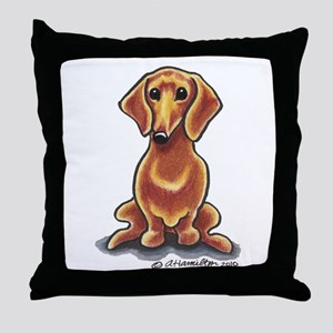 Smooth Red Dachshund Throw Pillow