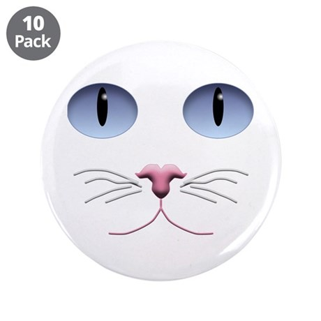 """Cat Face 3.5"""" Button (10 pack)"""