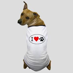 I Heart Paw White Oval Dog T-Shirt