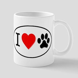 I Heart Paw White Oval Mug