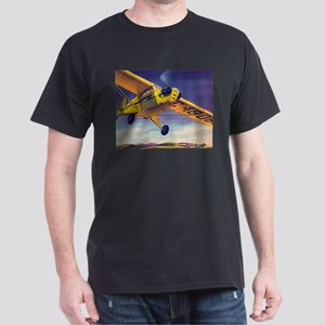 Piper Cub In Flight Black T-Shirt