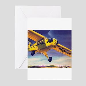 Piper Cub In Flight Greeting Cards (Pk of 10)