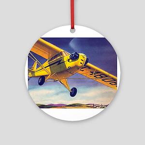 Piper Cub In Flight Ornament (Round)