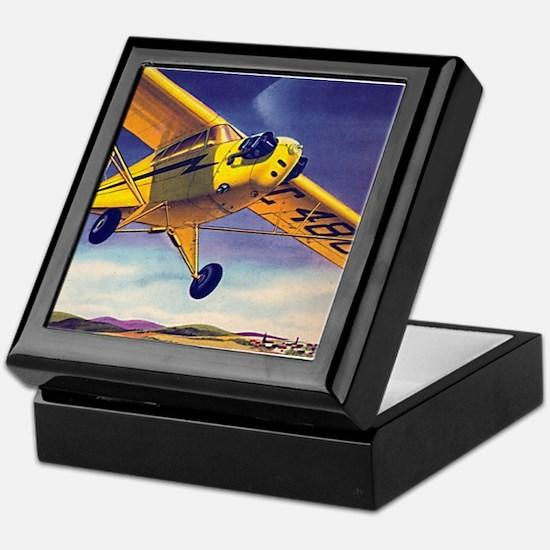 Piper Cub In Flight Keepsake Box