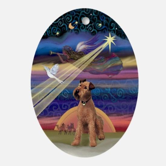 Irish Terrier & Christmas Star Oval Ornament