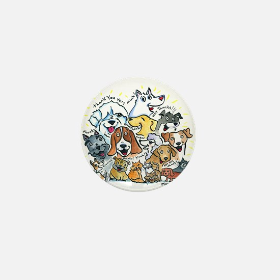 Thank You Dogs & Cats Mini Button