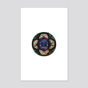 Stained Glass Fouled Anchor Mini Poster Print