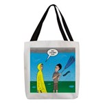 Umbrella in a Thunderstorm Polyester Tote Bag