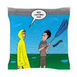 Umbrella in a Thunderstorm Woven Throw Pillow