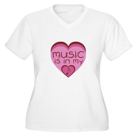 Music is in my heart. Women's Plus Size V-Neck T-S