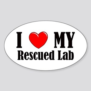 I Love My Rescued Lab Sticker (Oval)