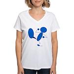 Karate Kick Blueman Women's V-Neck T-Shirt