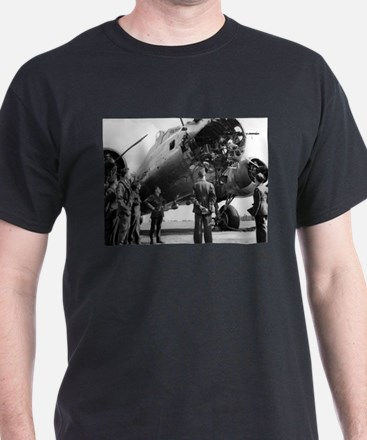 Battle Damaged B-17 Black T-Shirt