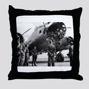 Battle Damaged B-17 Throw Pillow