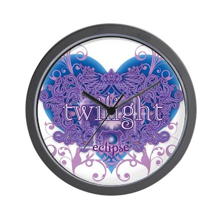 Twilight Eclipse Purple Heart Wall Clock