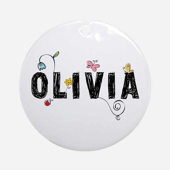 olivia floral Ornament (Round)