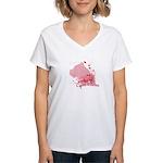 Cane Corso Pink Women's V-Neck T-Shirt