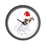 Santa Jack Russell Wall Clock