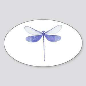 Blue Dragonfly Oval Sticker