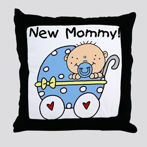 New Mommy Baby Boy Throw Pillow