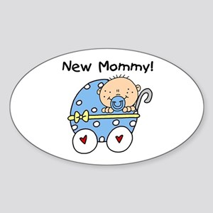 New Mommy Baby Boy Sticker (Oval)