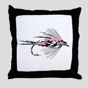PINK CAMO FLY Throw Pillow