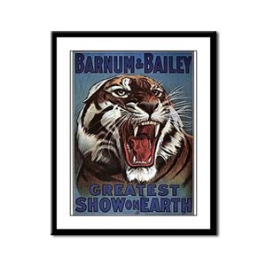 Vintage Circus Tiger Framed Panel Print